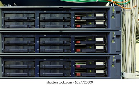 The front panel of the old server closeup. Internet technology, obsolescent technology. Engineering technology