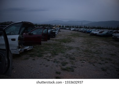 The front part of half cut cars during the sunset. At a vehicle junkyard. Awaiting recycle or re-sale.
