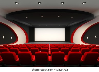 Front perspective construction of Empty hall of cinema with comfortable red chairs