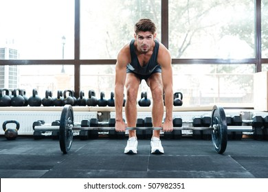 Front photo of athletic man. full