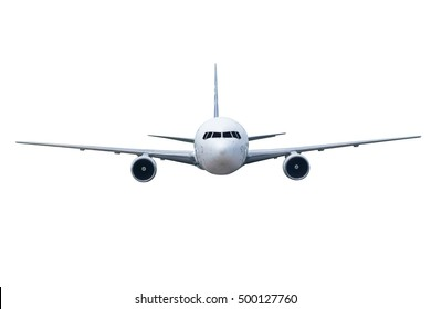 Front of plane aircraft, isolated on white background
