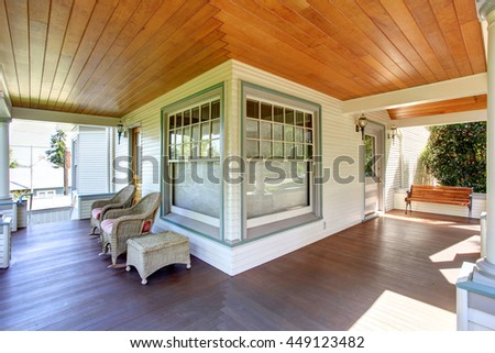 Groovy Front Porch Chairs Wooden Bench Columns Stock Photo Edit Machost Co Dining Chair Design Ideas Machostcouk