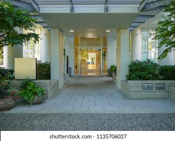 Front porch and main entrance of residential tower building