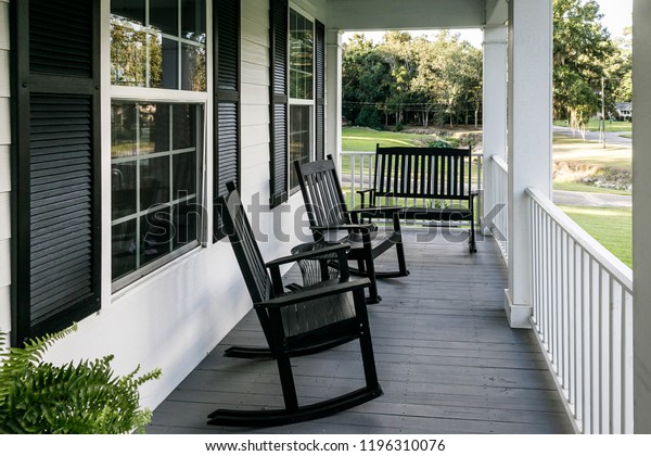 Cool Front Porch Southern Home Black Rocking Stock Photo Edit Bralicious Painted Fabric Chair Ideas Braliciousco