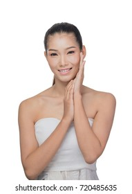 Front portrait of the asian woman with beauty face - isolated