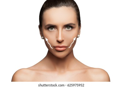 Front portrait of the woman with beauty face - isolated. Beautiful Spa model. Youth and Skin Care Concept. The young female face. Antiaging and thread lifting concept