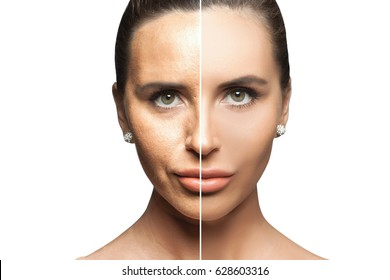 Front portrait of the woman with beauty face - isolated. Beautiful Spa model. Woman face before and after cosmetic procedure. Plastic surgery concept.