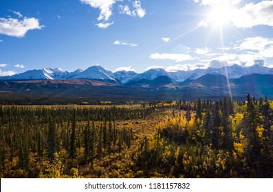 The Front Ranges of the Kluane Mountain Range as seen from Haines Junction on a beautiful sunny day during the Indian Summer.