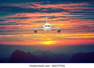 Front of real plane aircraft, isolated on sunset view background