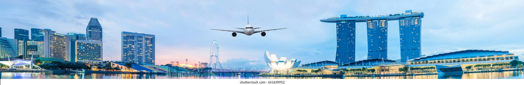 Front of real plane aircraft,on Cityscape in Singapore background