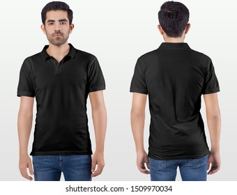 Front and rear look man model wearing black plain polo t shirt in blue denim jeans pant.