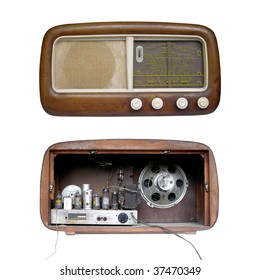 Front and rear of old AM radio tuner isolated over white