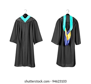 A front and rear view of a graduation gown with purple and blue hood indicating graduation with distinction and honors