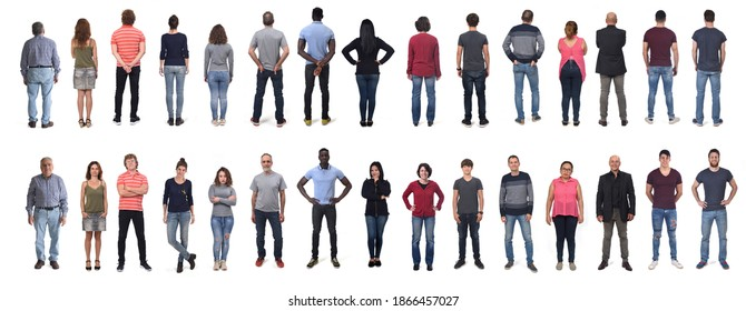 front and rear view of large group of men and women wearing  jeans and standing on white background