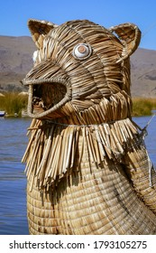 Front of reed boat made by indigenous Uro people, floating Uros Islands, Lake Titicaca, Peru, South America