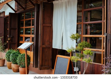 A front of restuarant or cafe Japan style, decorative with white