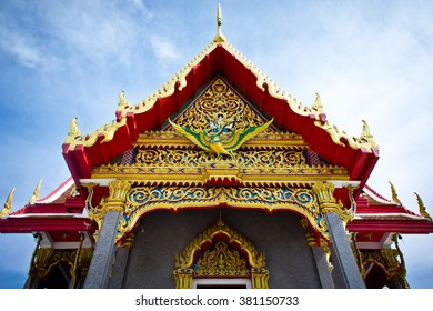 Front roof of Thailand's temple in Phuket