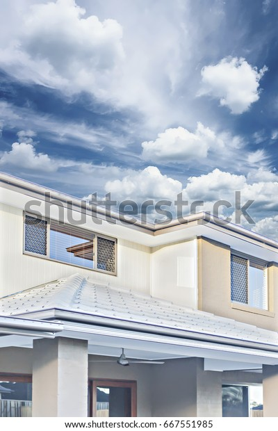 Front Roofs Walls Modern House Wall Stock Photo (Edit Now ... on front of house storage, front of house trees, front of house landscaping, front of house awards, front of house signs, front of house decor, front of house lighting,