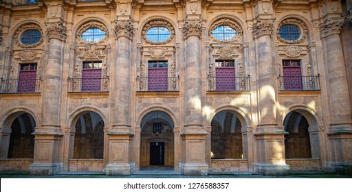Front of Salamanca University, the oldest university in Spain and one of the oldest in Europe, Community of Castile and León, Spain.