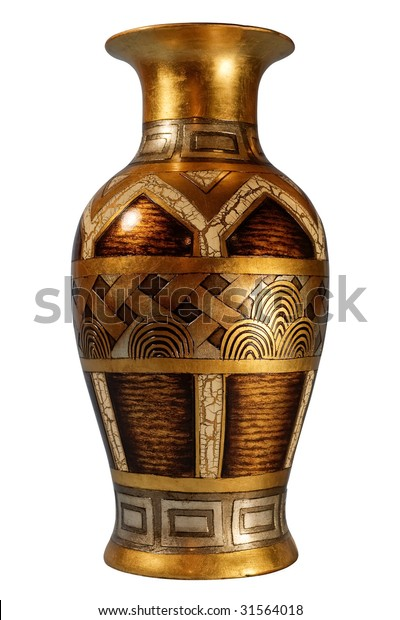Front shot of classic vase on white background with isolation path