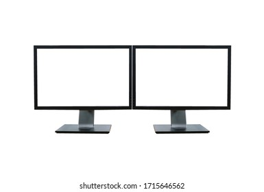 Front shot of dual blank white screen display computer monitor isolated on white background