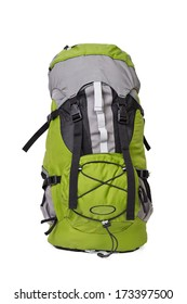 Front shot of green touristic backpack on white background