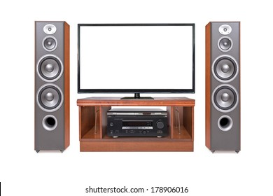 Front shot of home cinema system isolated on white background
