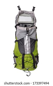 Front shot of opened green touristic backpack on white background