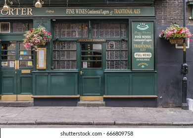 front side of a Green old tradition old Pub ,London UK 25 June 2017