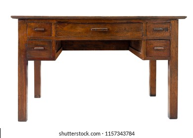 Front side of Large rectangular old vintage brown work desk wooden table with 5 drawers including 4 small drawers side and large drawer in the middle isolate on white background with clipping path.