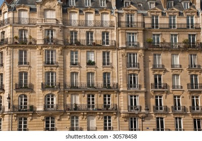 Front side of one of the typical buildings in Paris