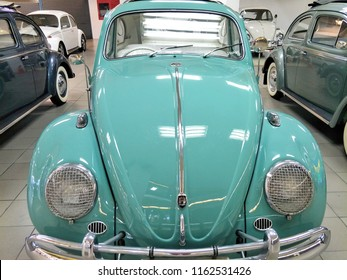 Front side of powder blue Volkswagen (VW) beetle classic car on display at showroom parked for sale.August 23,2018 : Chiang Mai, Thailand.