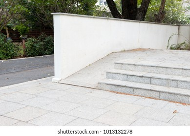 front side of ramp way to support wheelchair disabled people infront of the office building