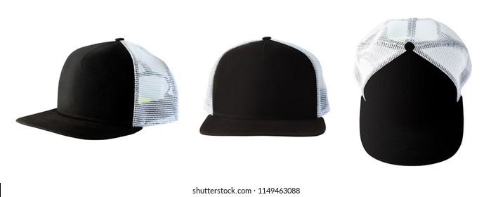 Front, side and top views of black baseball cap or trucker hat isolated on white background