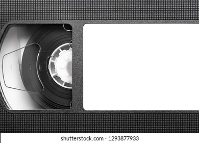 Front side of vhs tape isolated on white. Empty copy space label frame to put own text inside. Outdated technology background.