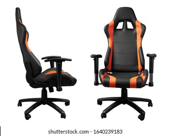 Front and side view of modern black and orange desk chair isolated on white