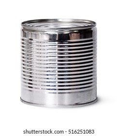 In front silver tin can isolated on white background