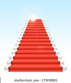 Front staircase and red carpet. On blue sky background.  Raster version.