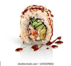In front sushi roll california food isolated on white background. Sushi roll with eel, vegetables and unagi sauce. Reflection.