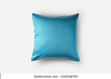 front top view of blue cushion cover, throw pillow, isolated on white background