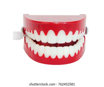 Front and top view of novelty chattering teeth. Isolated.