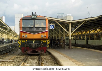 Front of Train led by Diesel Electric locomotives at Bangkok Railway Station Thailand.