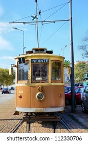 Front of a typical tram car from Porto, Portugal