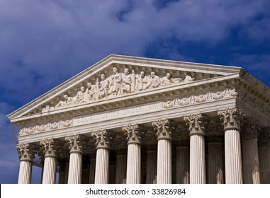 The front of the United States Supreme Court building in Washington DC.