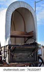 Front view of a 100-year-old covered wagon.