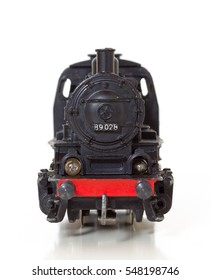 Front view of a 1950s vintage model steam locomotive