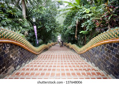 Front view of the 306 steps leading up to the temple complex, Chiang Mai, Thailand.