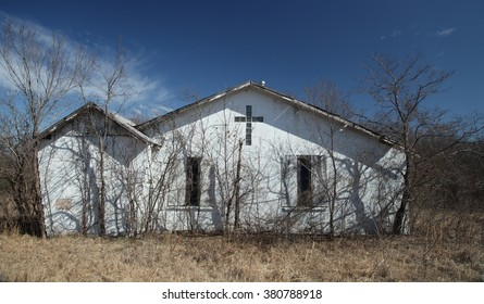 Front View of Abandoned Church in Rural Oklahoma