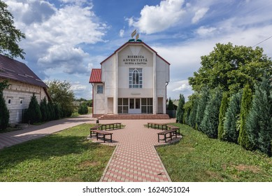 Front view of Adventist Church in Romanian village of Marginea, famous for the traditional handmade production of black pottery