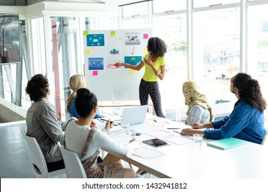 Front view of African-american businesswoman giving presentation on flip chart during meeting in a modern office
